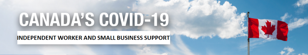 Text COVID-19 Independent Worker and small business support with Canadian Flag