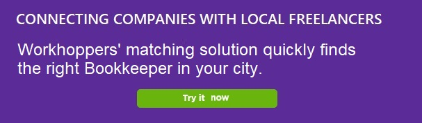 Purple button to find a freelance bookkeeper in your city.