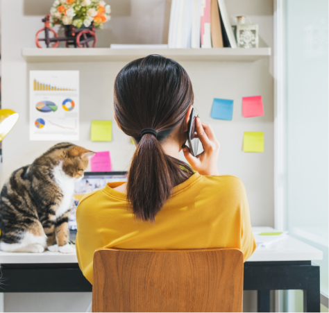 Female freelancer sitting at desk with a cat next to her, on cell phone.